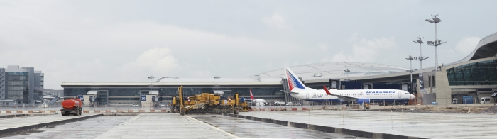 Runway and adjacent taxiways at Vnukovo airport in Moscow (2013)